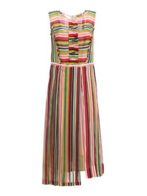N°21: knee length dresses - Ruched silk chiffon dress