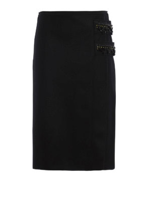 N°21: Knee length skirts & Midi - Embellished wool cloth pencil skirt