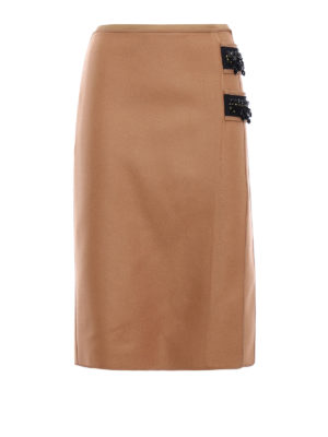 N°21: Knee length skirts & Midi - Embellished wool cloth pencil skirt