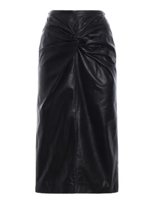 N°21: Knee length skirts & Midi - Lamb leather pencil bow black skirt