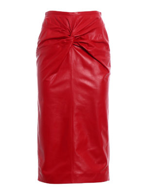N°21: Knee length skirts & Midi - Lamb leather pencil bow red skirt