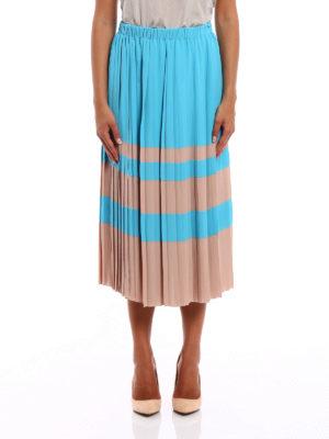 N°21: Knee length skirts & Midi online - Bicolour silk blend pleated skirt