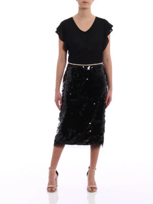 N°21: Knee length skirts & Midi online - Black sequin pencil skirt