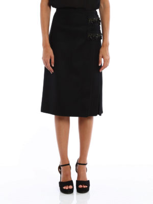 N°21: Knee length skirts & Midi online - Embellished wool cloth pencil skirt