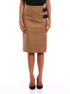 N°21: Knee length skirts & Midi online - Embellished wool cloth pencil skirt