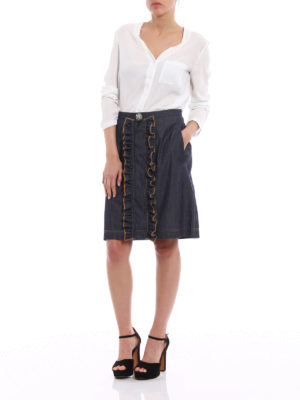 N°21: Knee length skirts & Midi online - Jewel detailed ruched A-line skirt