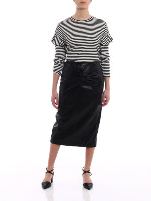 N°21: Knee length skirts & Midi online - Lamb leather pencil bow black skirt