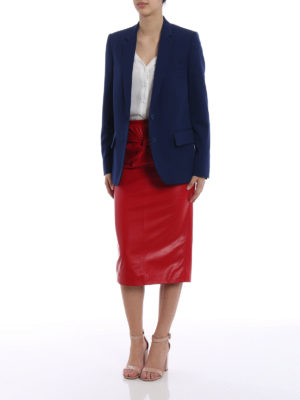 N°21: Knee length skirts & Midi online - Lamb leather pencil bow red skirt