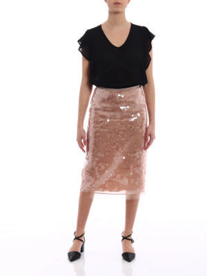N°21: Knee length skirts & Midi online - Light pink sequin pencil skirt