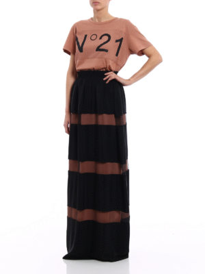 N°21: Long skirts online - Silk blend and tulle striped skirt