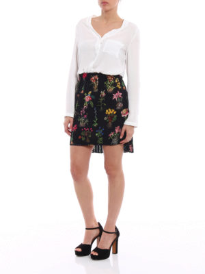 N°21: mini skirts online - Pleated back floral silk mini skirt