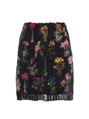 N°21: mini skirts - Pleated back floral silk mini skirt