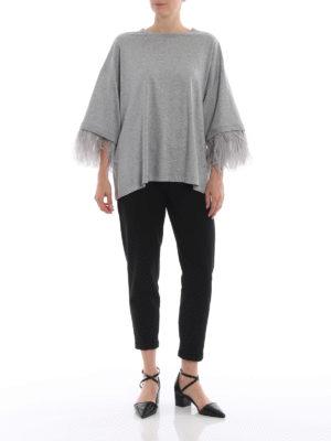 N°21: t-shirt online - T-shirt over grigia con dettaglio piume