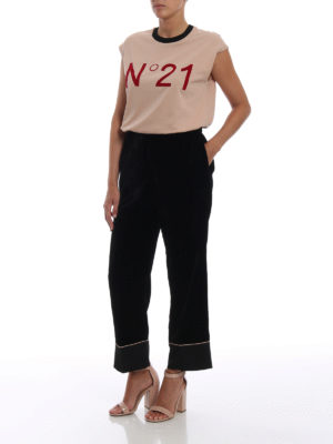 N°21: Pantaloni sartoriali online - Pantaloni pigiama in velluto nero
