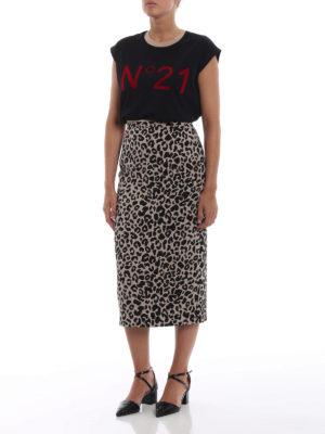 N°21: Top e canotte online - Canotta in cotone nero con logo vellutato