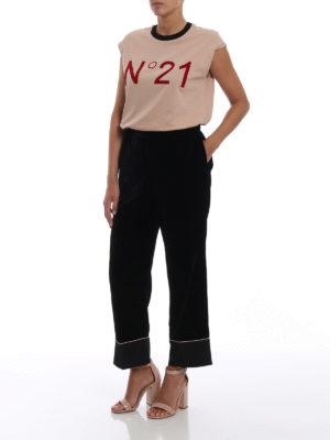 N°21: Top e canotte online - Canotta in cotone con logo vellutato
