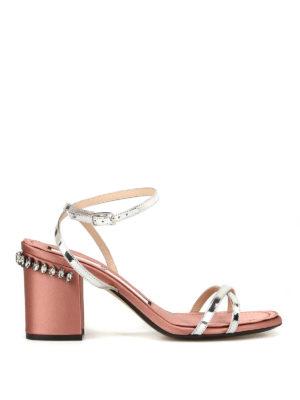 N°21: sandali - Sandali in pelle e raso con strass