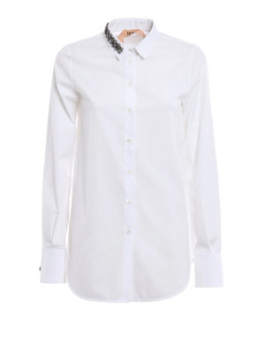 N°21: shirts - Jewel collar cotton shirt