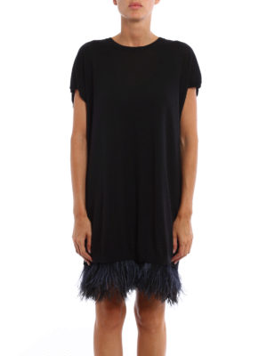 N°21: short dresses online - Knitted wool dress with feathers