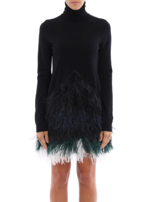 N°21: short dresses online - Ostrich feather detailed knit dress