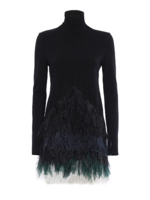 N°21: short dresses - Ostrich feather detailed knit dress
