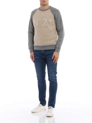N°21: Sweatshirts & Sweaters online - Two-tone wool blend sweatshirt