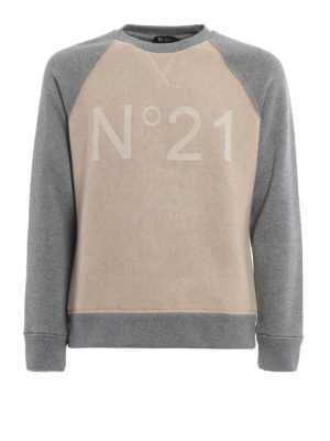 N°21: Sweatshirts & Sweaters - Two-tone wool blend sweatshirt