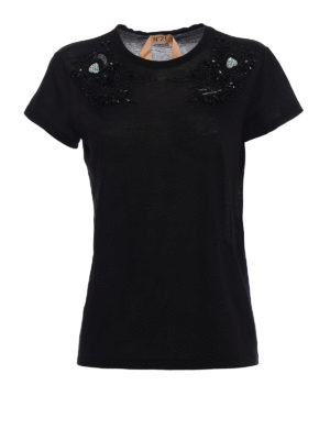 N°21: t-shirts - Beaded front cotton T-shirt