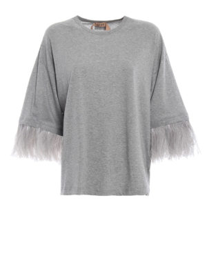 N°21: t-shirt - T-shirt over grigia con dettaglio piume