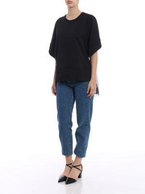 N°21: t-shirts online - Silk back black jersey T-shirt
