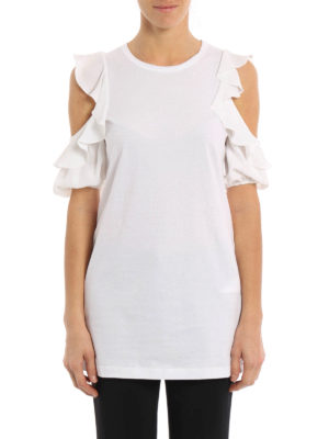 N°21: t-shirts online - Silk blend detailed cotton T-shirt