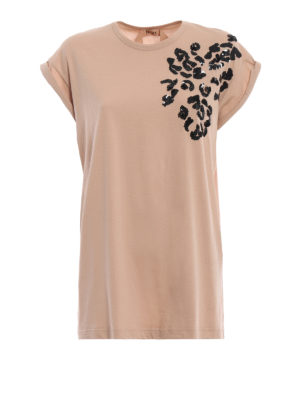 N°21: t-shirt - T-shirt in cotone con decoro di paillettes