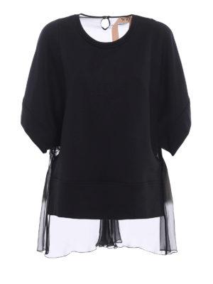 N°21: t-shirts - Silk back black jersey T-shirt