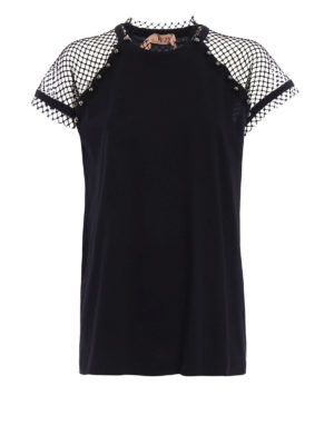 N°21: t-shirts - Studded mesh shoulders T-shirt