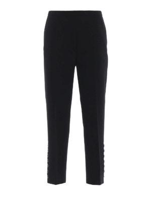 N°21: Pantaloni sartoriali - Pantaloni in cady nero con dettaglio bottoni