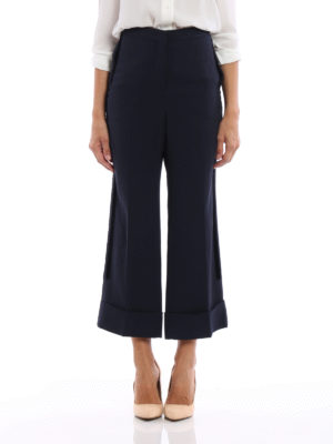 N°21: Tailored & Formal trousers online - Crepe cady wide leg crop trousers