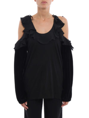 N°21: Tops & Tank tops online - Multi fabric off the shoulder top