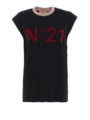 N°21: Top e canotte - Canotta in cotone nero con logo vellutato
