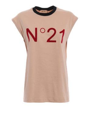 N°21: Top e canotte - Canotta in cotone con logo vellutato