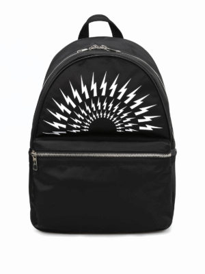 Neil Barrett: backpacks - Bolt print nylon dome backpack