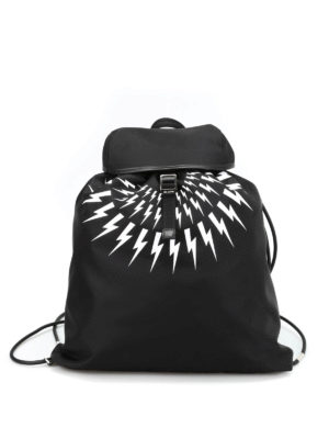 Neil Barrett: backpacks - Bolt print nylon flat backpack