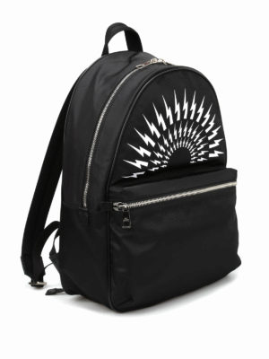 Neil Barrett: backpacks online - Bolt print nylon dome backpack
