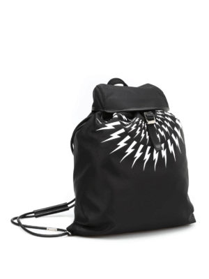 Neil Barrett: backpacks online - Bolt print nylon flat backpack