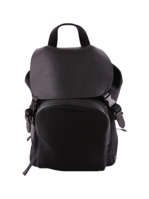 Neil Barrett: backpacks - Techno fabric and leather backpack