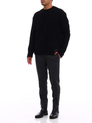 Neil Barrett: casual trousers online - Snap ankles cropped wool trousers