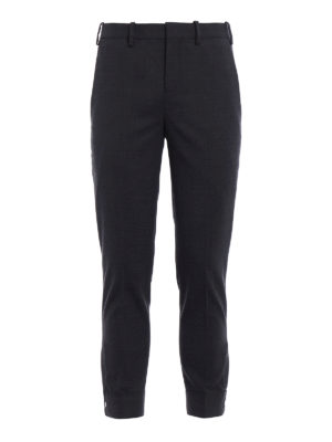 Neil Barrett: casual trousers - Snap ankles cropped wool trousers