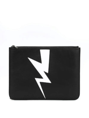Neil Barrett: clutches - Abstracted bolt leather pouch
