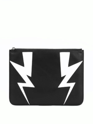Neil Barrett: clutches - Abstracted double bolt pouch