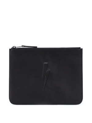 Neil Barrett: clutches - Debossed bolt large zip pouch