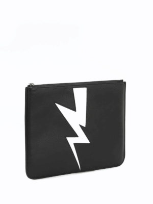 Neil Barrett: clutches online - Abstracted bolt leather pouch